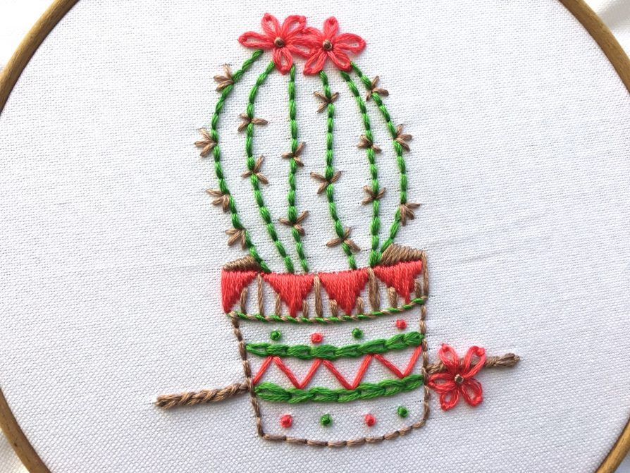 Sample of cactus design for Bite Size Embroidery