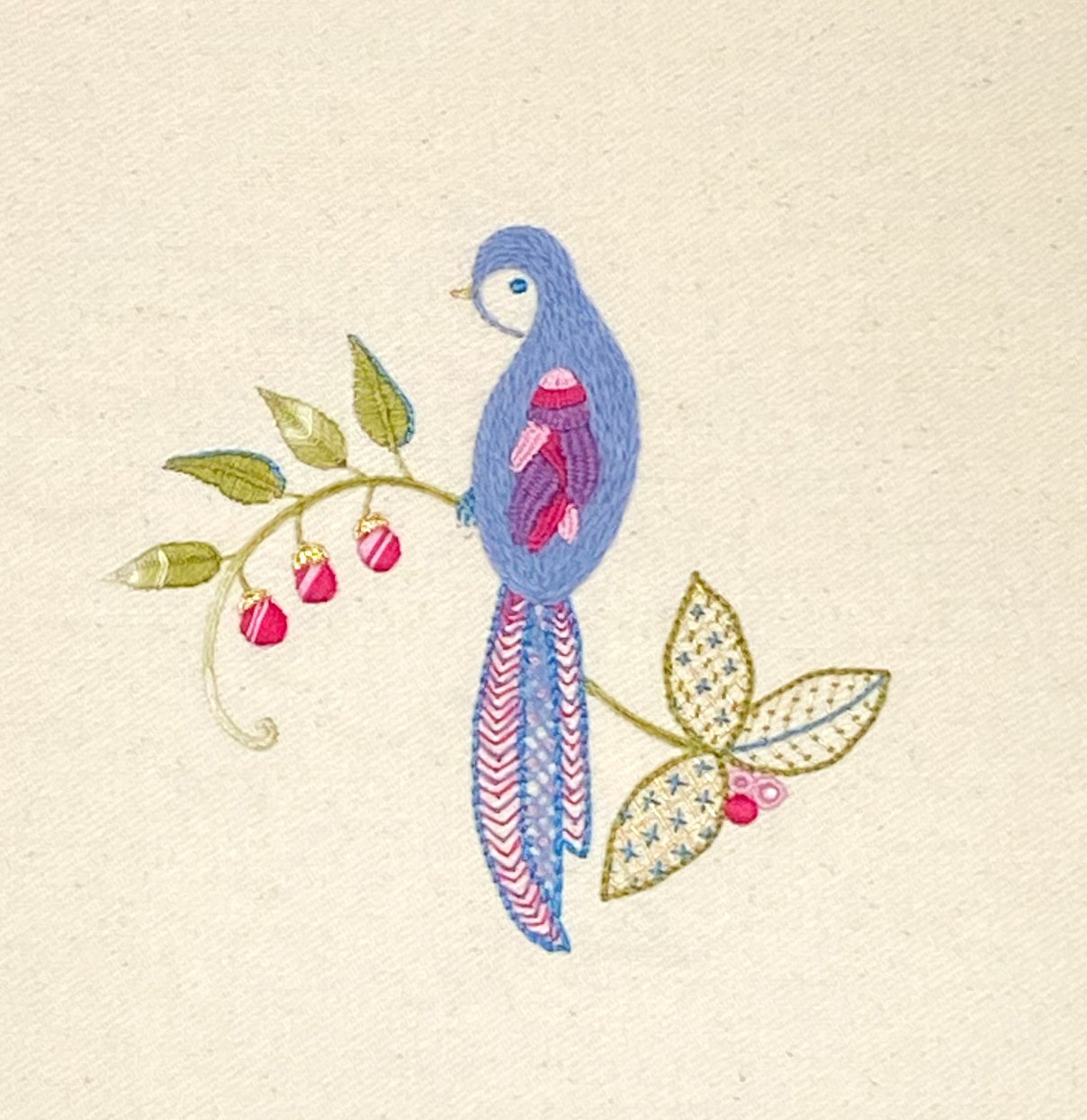Surface Embroidery: Bluebird (Two-Session VIRTUAL CLASS)