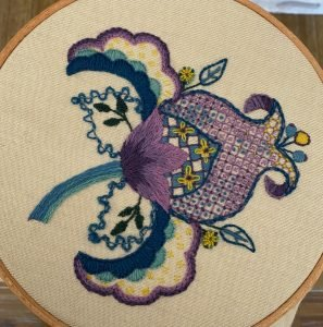 Crewelwork Bud, by Donna, CA